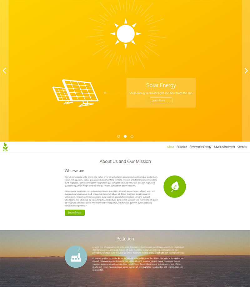 Eco Energy - mobile first responsive site